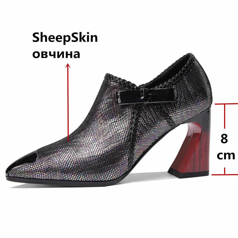 FEDONAS 2020 Bahar Kaliteli Koyun Derisi Garip Topuklu Kadın Pompaları Yan Fermuar Roma Ayakkabı Kadın Kadın Zarif Parti Ofis Ayakkabı