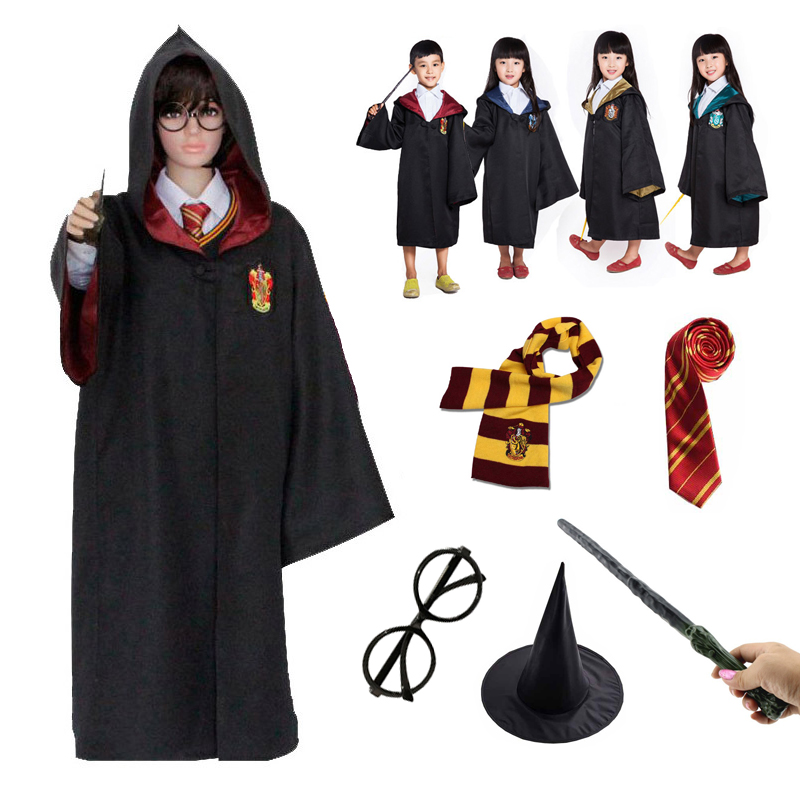 Adult Kids Gryffindor Slytherin Hufflepuff Ravenclaw Costume Cosplay Magic Robe Cloak With Tie Scarf School Halloween Cosplay