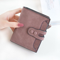 New women's wallet in 2018 Women's short three-fold buckle multi-card vintage fashion wallet wallet