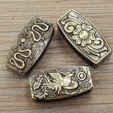 Высокого качества меди гравировка Дракон кожа пряжка на ремешке кольцо Для мужчин руководство пряжкой уникальный leather craft аксессуары