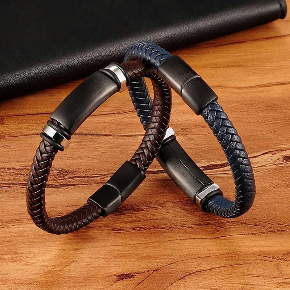 XQNI nouveau luxe en acier inoxydable accessoires en cuir véritable combinaison 3 couleurs hommes Bracelets tissé Bracelet pour hommes anniversaire