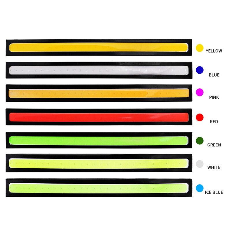 1X17 см COB автомобильный дневной ходовой светильник, автомобильный DRL светодиодный светильник, внешний светильник, автомобильный водонепроницаемый синий розовый красный зеленый Янтарный DRL светильник
