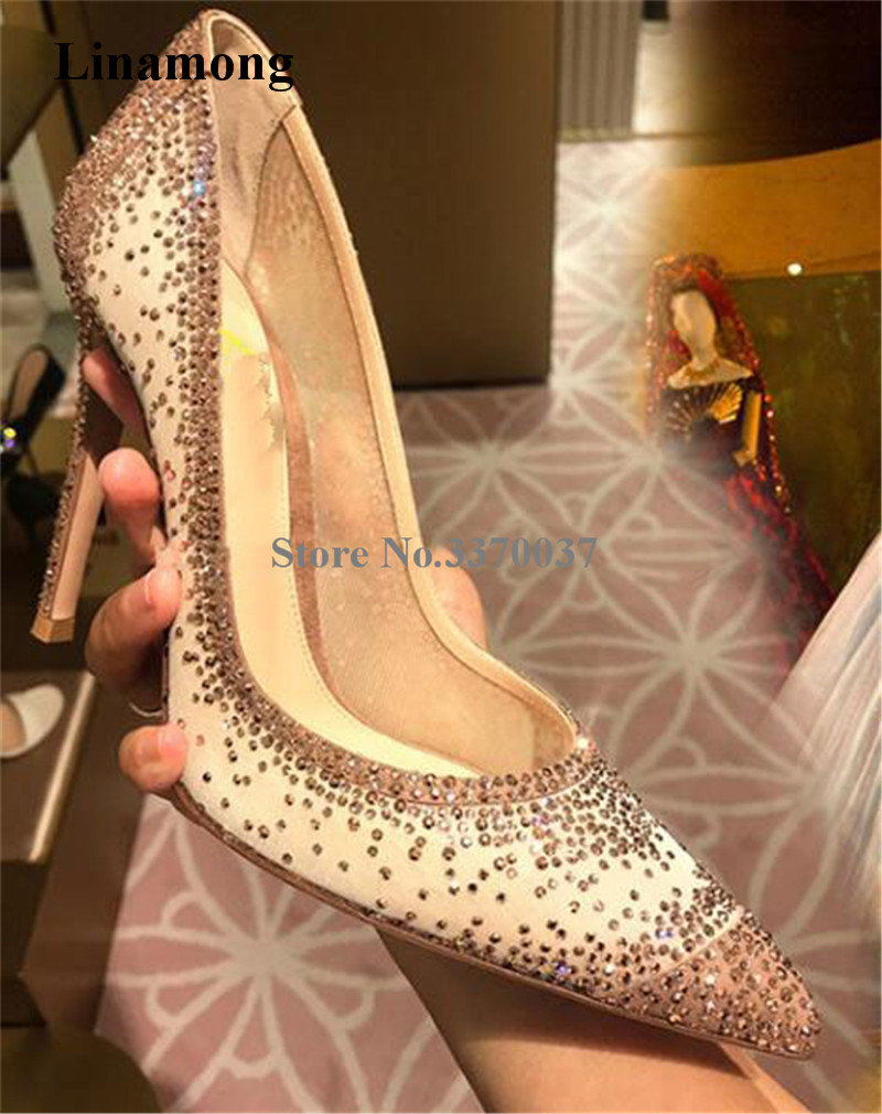 Brand Design Women Charming Bling Bling Pointed Toe Mesh Thin Heel Pumps Lace Beige Black Rhinestone High Heels Wedding Shoes rhinestone pointed toe high heels pumps women fashion thin heel court shoes crystal ladies ol girl party bling wedding red pumps