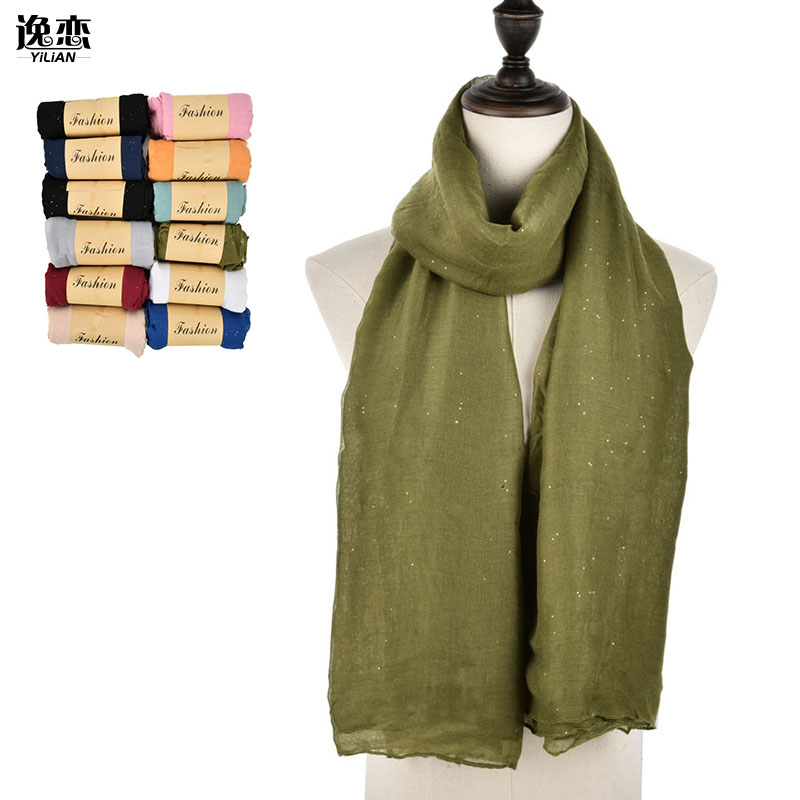 YI LIAN Brand 12pcs 11 Color Cotton Winter Fashion Scarf for Women with Gold Powder (2pcs Black,other color 1pcs) SF978