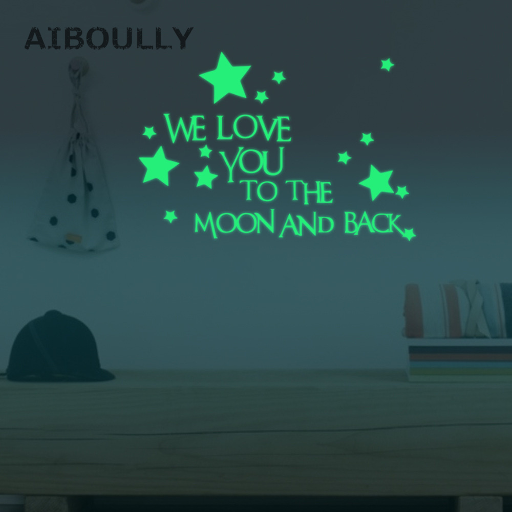 We Love You To The Moon And Back Stars Luminous Glow In The Dark Romantic Wall Decoration Bedroom Kid Room Party Dormitory Decor