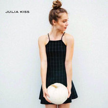 Пикантные Дизайн женские Модные Высокая Талия Спагетти ремень плед цельнокроеное платье midguts