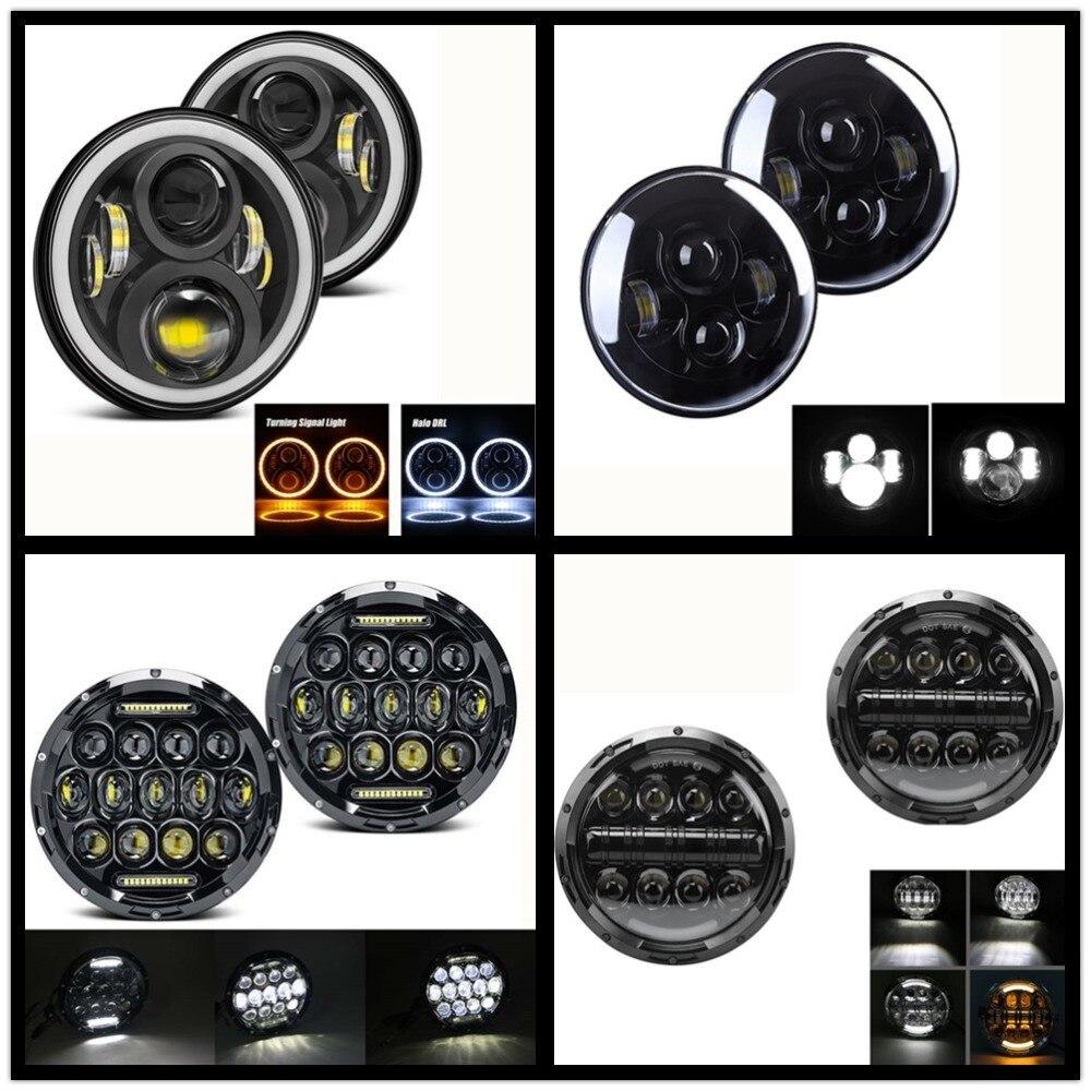 2PCS Car 7 Inch H4 LED Headlights For Lada 4x4 Urban Niva Land Rover 90 110