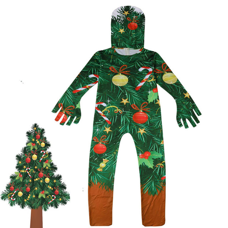 Children's Christmas Tree Cosplay Party Halloween Christmas Party Costume Girl Fancy Dress Party Boys Jumpsuit Mask Set