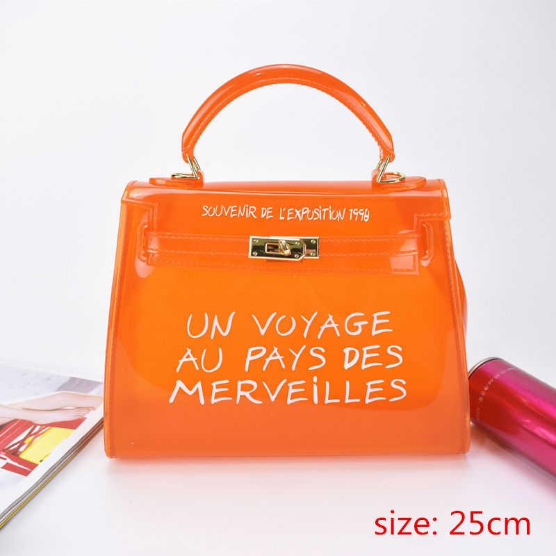 8821f953a70e ... Top-handle Clear Transparent PVC Women Shoulder Bags Letter Jelly Candy  Color Women Messenger Crossbody ...