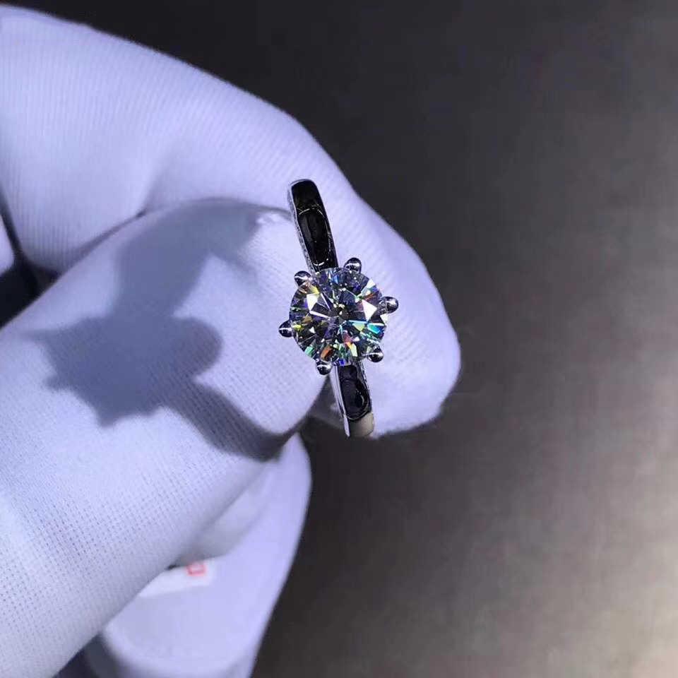 925 แหวนเงินแท้ 1ct 2ct 3ct ออกแบบพิเศษ Moissanite แหวนเพชรเครื่องประดับแหวนผู้หญิง