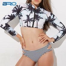 2965853b81e BRO Long Sleeve Swimsuit Two Piece Coconut Tree Print 2018 Summer Bikini  Set Crop Top Stripe Zipper Sexy Bathing Swim Suit Women