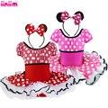 Nuevos niños vestido de la princesa minnie mouse fiesta de disfraces infantil ropa Polka dot ropa de bebé tutú de las muchachas vestidos de cumpleaños Diadema