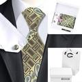 B-1188 Amarelo Preto Marrom Laços Para Homens 2016 Nova Marca Paisley Laços Dos Homens Define Gravata Lenço Abotoaduras com Caixa Branca saco