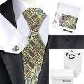 B-1188 Amarillo Negro Marrón Corbata Para Los Hombres 2016 Nueva Marca Paisley Mens Lazos Conjuntos Corbata Hanky Gemelos con la Caja Blanca bolsa