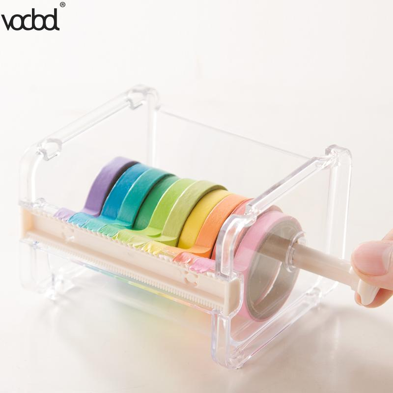 VODOOL Beige Color Japanese Stationery Masking Tape Cutter Washi Tape Storage Organizer Cutter Office Tape Dispenser Supplies