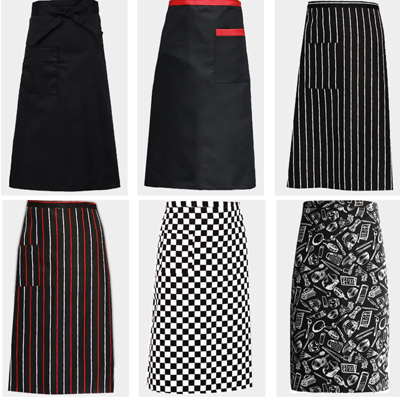 Kitchen Cooking Aprons Work Dining Half-length Long Waist Apron Catering Chef Hotel Waiters Uniform Essential Supplies Wholesale