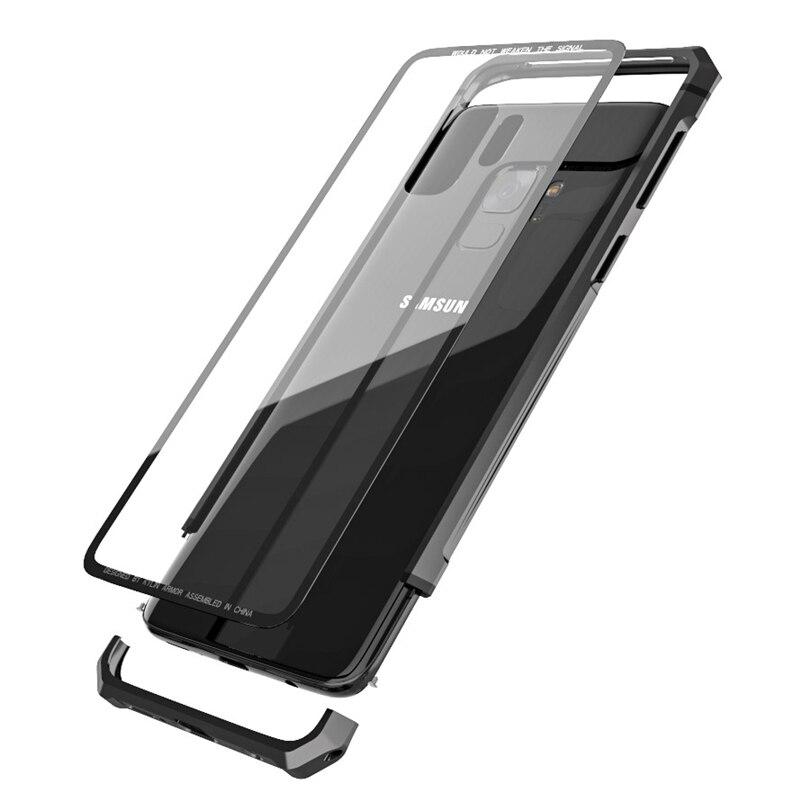 Per Samsung Galaxy S9/S9 Più Il Caso di Aeromobili di Protezione Del Respingente Del Metallo A Vite Cassa Del Telefono Delle Cellule con Fondello Trasparente Temperato di vetro