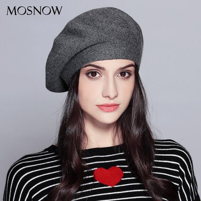 MOSNOW Mulheres Boina Moda Chapéu De Inverno Feminino de Malha de Algodão  de Lã Chapéus Cap 089deca68d0