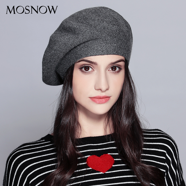 MOSNOW Women Beret Vogue Hat For Winter Female Knitted Cotton Wool Hats Cap Autumn 2017 Brand New Women's Hats Caps MZ729