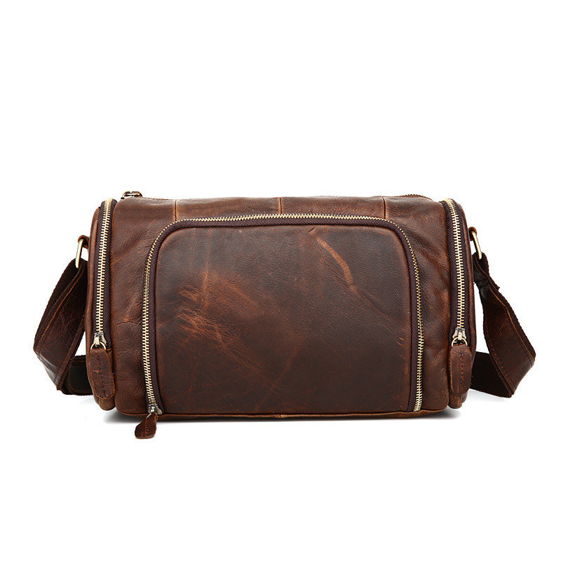 Vintage Crazy House Leather Men's Cross-body bag 100% Natural Cowskin Shoulder bag Genuine leather men Messenger bags