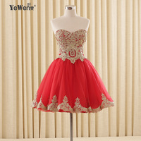 YeWen Red short cocktail dresses knee length 2018 new design sex backless plus size Best Selling evening party coctail dress wom