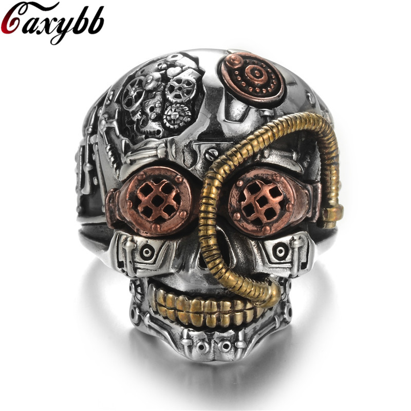 Mens Carved Stainless Steel Silver Punk Gothic Goth Biker Rock Skull Ring Gift