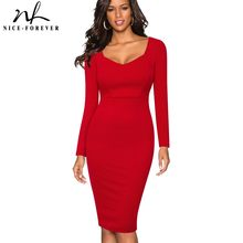 Nice-forever Elegant Solid Red Color Long Sleeve Backless vestidos Sexy Club Wear Bodycon Business Women Sheath dress 434(China)