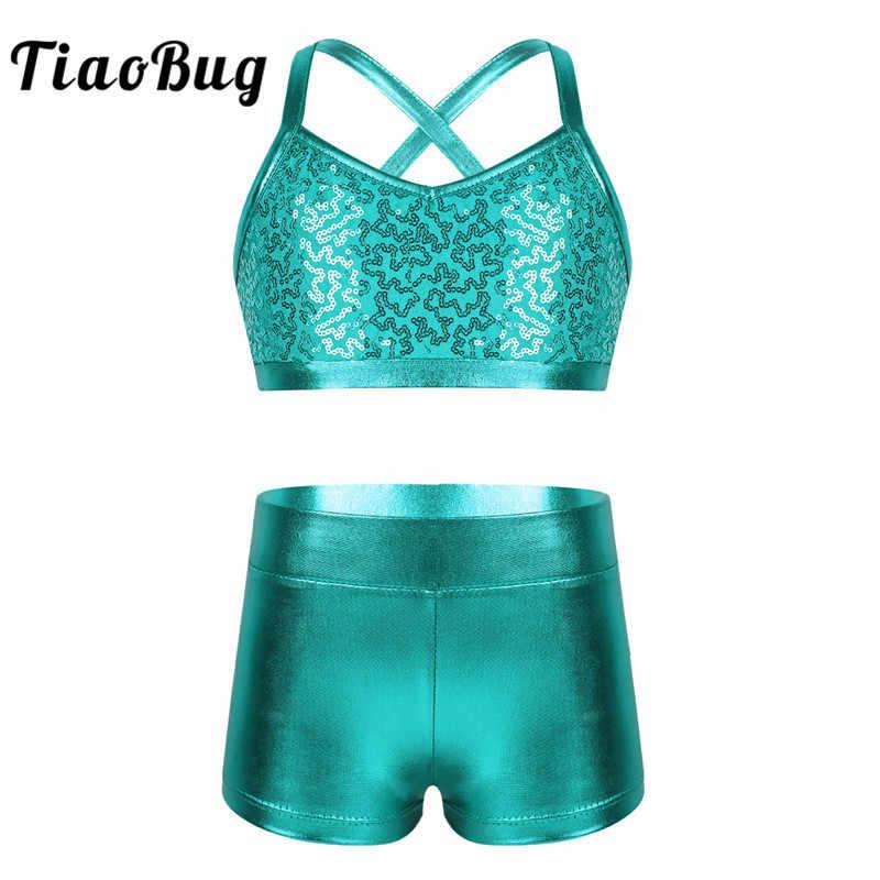 Mädchen Sport Tanz Outfit Pailletten Metallic Tanzkostüm Tank Top und Shorts