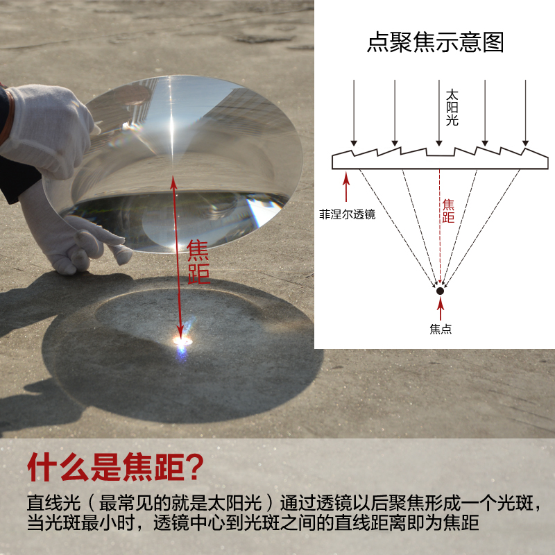 Image 2 - 300mm Large Optical PMMA Plastic Big Solar Fresnel Lens Focal Length 120 220 400 360mm Solar Concentrator Magnifying Glass 1PC-in Lenses from Tools