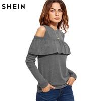 SheIn 2016 Autumn Fall Fashion T Shirt Women Tops Womens Clothing Grey Cold Shoulder Long Sleeve