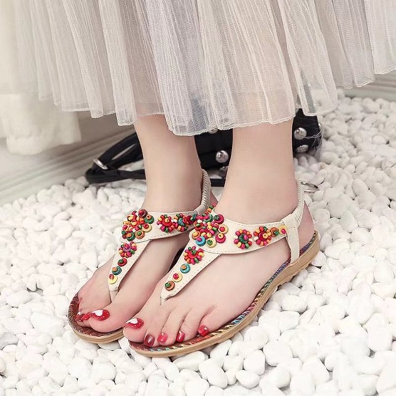 2018 Summer New Fashion Bohemian Beaded Women Sandal Casual Comfortable Flat Women Shoes Fast delivery women s shoes 2017 summer new fashion footwear women s air network flat shoes breathable comfortable casual shoes jdt103