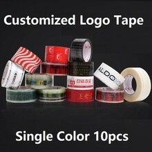 10 pces x 100 medidores personalizaram a fita de empacotamento transparente do rolo da fita do logotipo 45/50/60mm largura vermelho azul preto verde logotipo fita clara