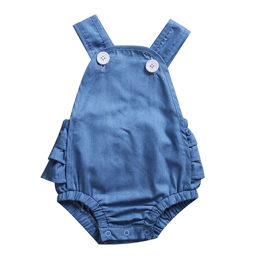 Pudcoco Summer Newborn Infant Baby Girls Cute Denim Ruffle Bodysuit Jumpsuit Outfits Clothes