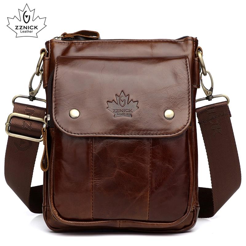 Men's Bag Genuine Leather Bag Handbag Shoulder Messenger Crossbody Leather Men Bags 2019 Male Flap Zipper Hasp Handbag ZZNICK