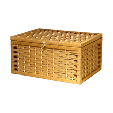 Rustic Woven Basket Paper Storage Box With Lid Handmade Home Organization And Knitted Desktop Wicker Baskets