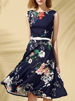 Fashion Summer Dressea Vintage Round Neck Sleeveless Floral Print Slimming Women S Dress For Party Shopping