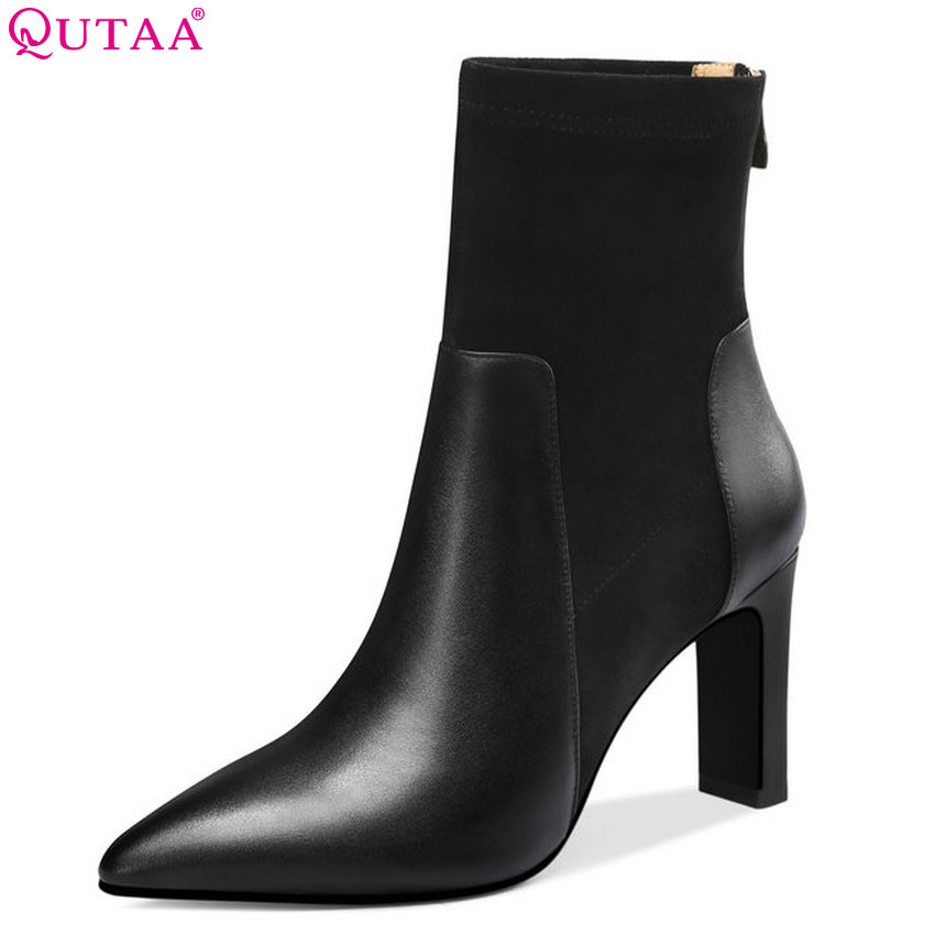 QUTAA 2019 Women Ankle Boots Platform All Match Square High Heel Cow Leather+pu High Quality Elegant Women Shoes Big Size 34-39 qutaa 2019 winter boots women ankle boots all match platform zipper square high heel cow leather pu women boots big size 34 39