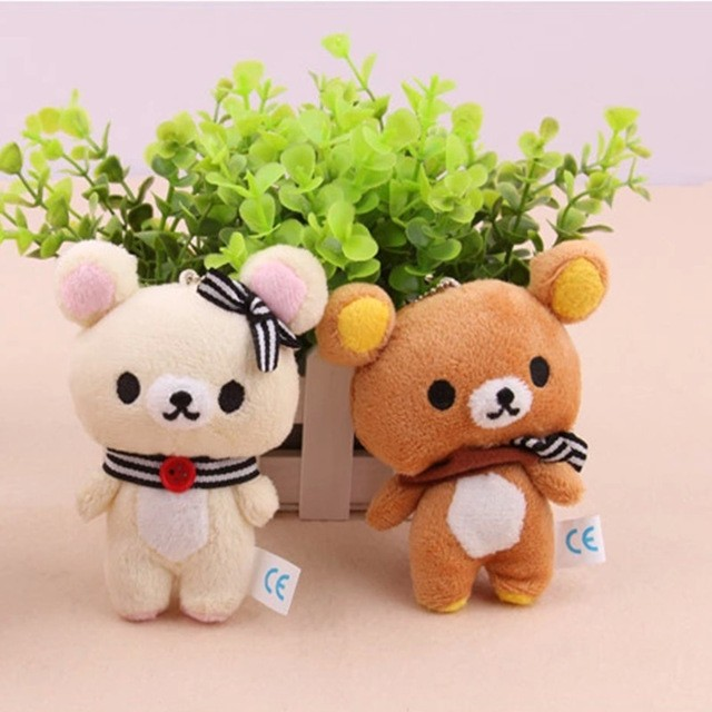 1pcs Kawaii Standing 11CM Lover Rilakkuma Bear Plush Stuffed TOY , Soft Figure DOLL ,  Key Chain Design ; BAG Pendant Charm TOY