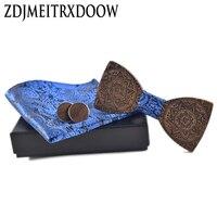 ZDJMEITRXDOOW 브랜드 패션 남성 블루 나비 넥타이 커프스 포켓 광장 넥타이 세트 토템 인쇄 넥타이 나무 넥타