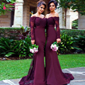Long sleeve Bridesmaid dresses robe demoiselle d'honneur Burgundy Mermaid Long Wedding guest Dresses chiffon Party dress  Z360