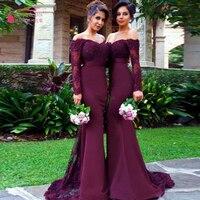 Long sleeve Bridesmaid dresses robe demoiselle d'honneur Burgundy Mermaid Long Wedding guest Dresses chiffon Party dress Z360