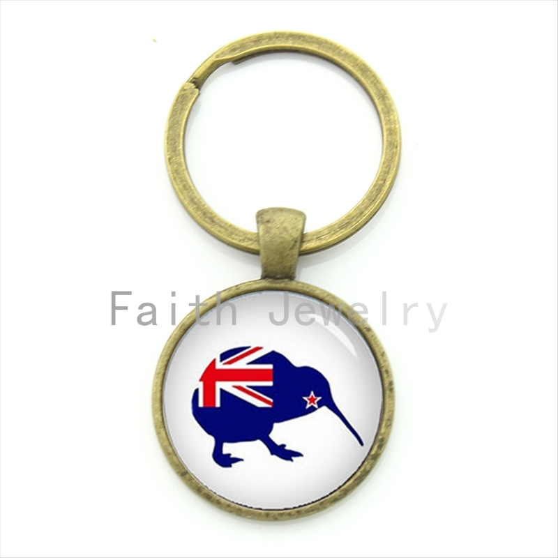 Naujosios Zelandijos kivių raktų pakabukas žavinga tamsiai mėlyna kivi su Naujosios Zelandijos vėliavos modelio simboliu paukščio raktų pakabukas KC468