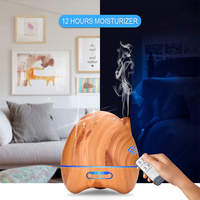 300ML Essential Oil Diffuser Aromatherapy Mist Maker Ultrasonic Air Humidifier With Remote Control Wood Grain LED
