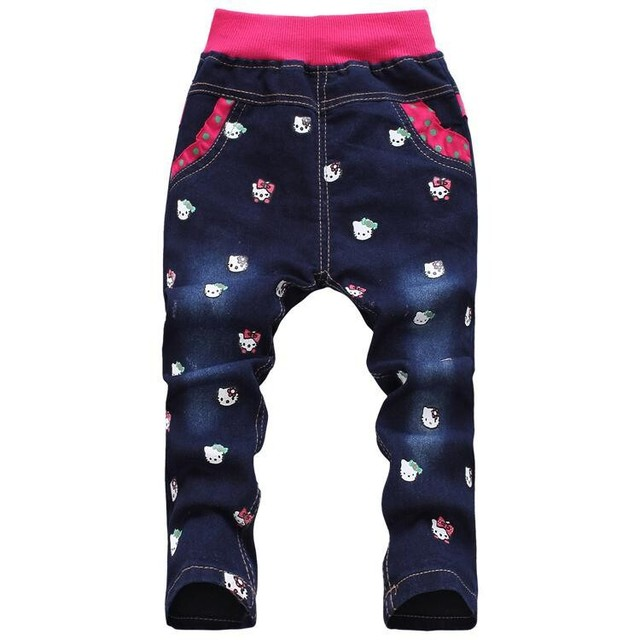 71392fc56bb Free shipping winter Thickening korean children's clothing hello kitty  girls jeans for kids wholesale and retail
