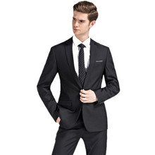 new autumn wedding navy blue suits men fashion style men's navy blue business suits high quality (Jacket+Pants)