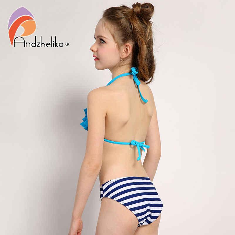 aa5e7b78022 ... Andzhelika 2018 New Bikinis Set Children s Swimsuit Cute Bow Solid  striped Bottom Girls Swimwear Swimming Suit ...