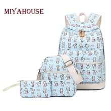 Miyahouse 3 Pcs/set School Backpack Women Cartoon Cat Printe