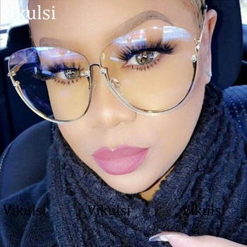 Gold Half Frames Transparent Lens Glasses Shades Pink 1