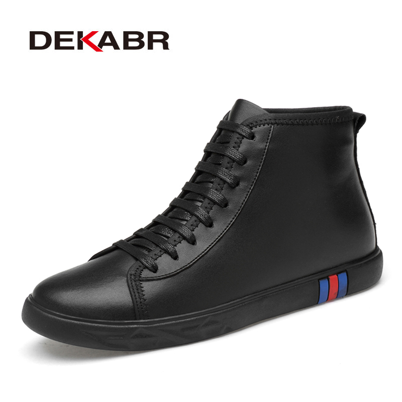 DEKABR Genuine Leather Shoes Men Boots Leisure High Top Ankle Boots Male Flat Footwear Snow Boots Casual Shoes Drop Shipping