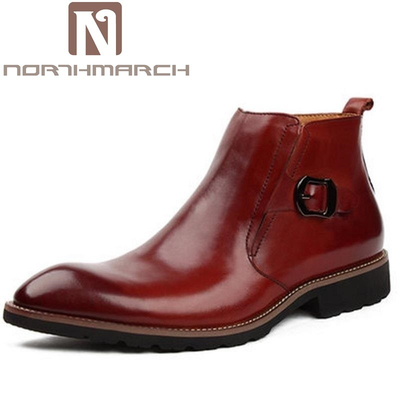 NORTHMARCH Quality Italian Mens Ankle Boots Pointed Toe High Top Male Business Dress Shoes Men Zip Elegant Chelsea Dress Botas choudory new winter men ankle italian shoes men leather shoes pointed toe mens black dress shoes sequined toe spiked loafers men